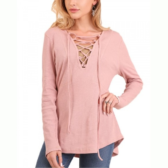 c9f39583812f21 Umgee Tops | Light Pink Lace Vneck Long Sleeve Top Small | Poshmark